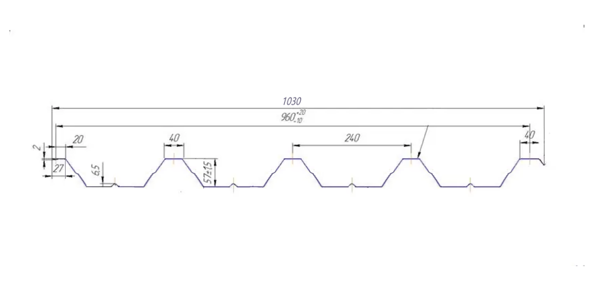 Профнастил Bulat® Т57 схема