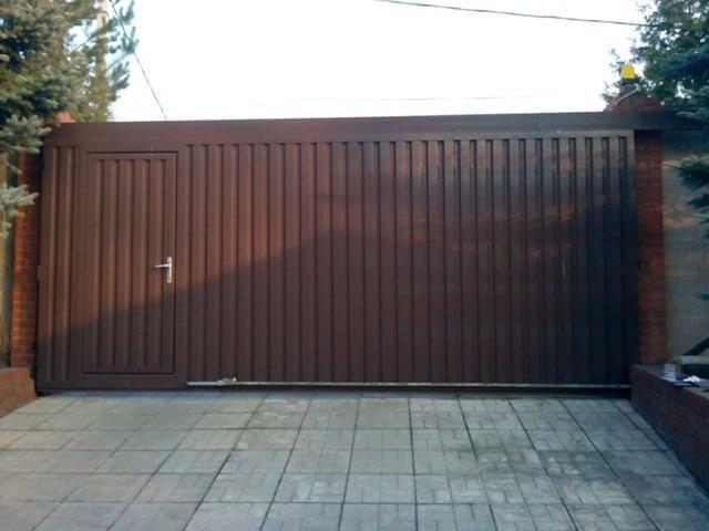 Ворота из металлопрофиля раздвижные