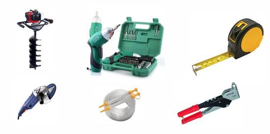 примеры инструментов для монтажа забора из профнастила