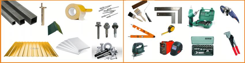 Материалы и инструменты для обшивки фронтона профнастилом