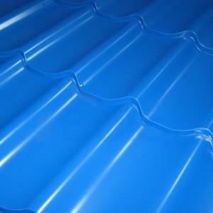 Металлочерепица Bulat модель w42 синего цвета с глянцевым покрытием