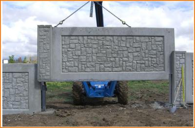 монтаж секции бетонного забора