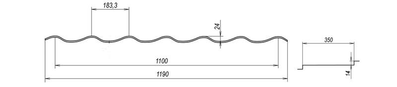 Металочерепиця Bulat® W38 схема
