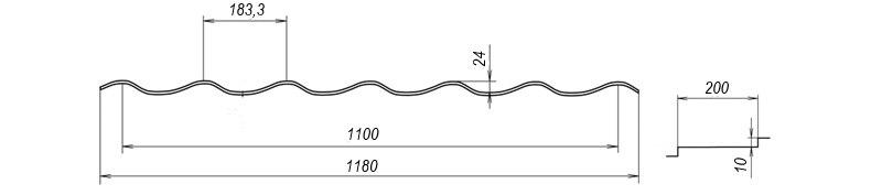 Металочерепиця Bulat® W34 схема