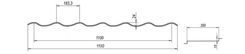 Металлочерепица Bulat® W42 схема