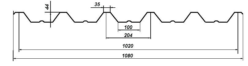 Профнастил Bulat® Т44 схема