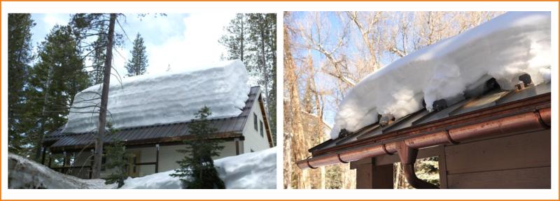 Снег на крыше из профилированной стали