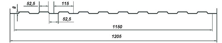 Профилированный лист С8 - размеры