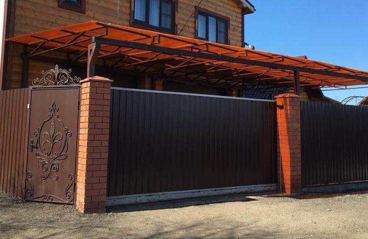 Ворота раздвижные цвета графит