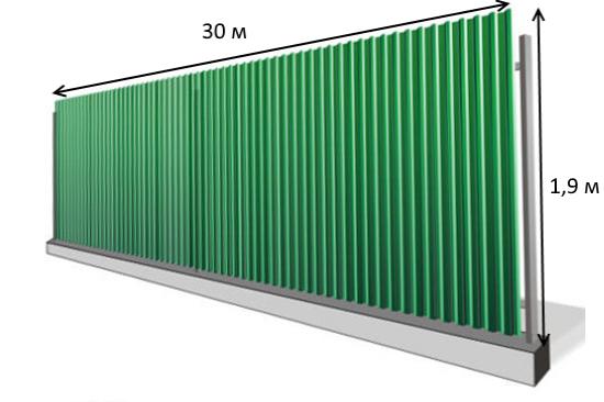 ширина и длина забора рисунок